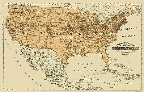 Mapa América Del Norte Antiguo Estados Unidos México Canadá Andreas 1873 23 X 35 Home Kitchen