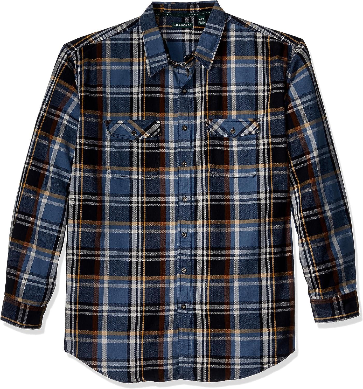 G.H. Bass & Co. Men's Big and Tall Mountain Twill Long Sleeve Button Down Plaid Shirt