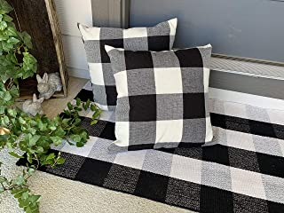 """Attic Bin Buffalo Plaid Check Rug Black and White with 2 Pillow Covers Bundled Set Matching (Cotton, 23.6"""" X 51"""")"""