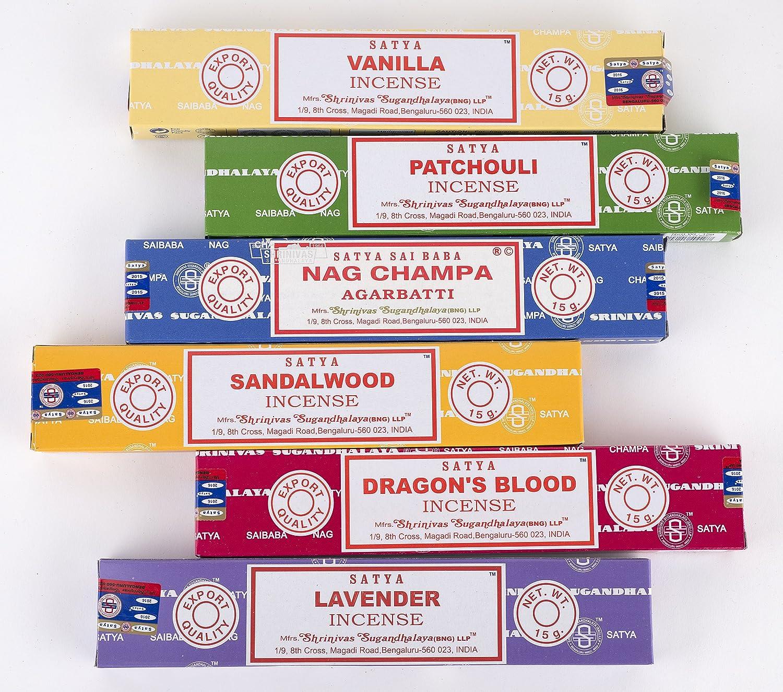 動力学シットコム印象Nag Champa 6?Piece Variety pack-nag Champ、バニラ、パチョリ、サンダルウッド、Dragon 's Blood、、ラベンダー