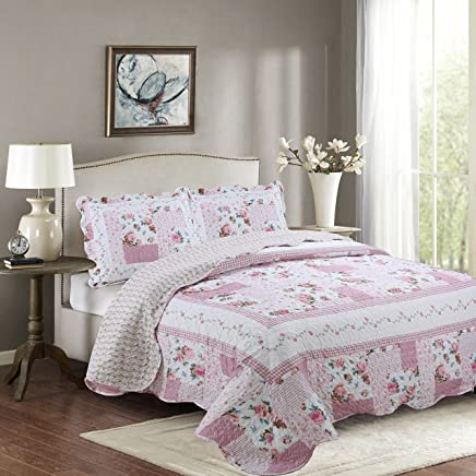 MK Home Mk Collection 2pc Twin/Twin Extra Long Reversible Bedspread Coverlet Set Floral Bedding Pink White Green Blue New