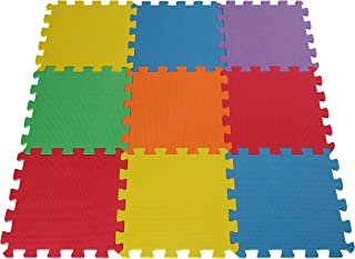Toydaloo EVA Foam Play Mat Blank 9 Pieces Non-Toxic Exercise mat Multicolored Colorful