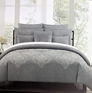 Tahari Home Maison Bedding Marossy Embroidered Silver Metallic Thread Damask Medallions on Gray Full/Queen Size Luxury 3 Piece Duvet Comforter Cover Shams Set