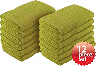 """Crover 12PC Essentials Fast Drying Super Absorbent Terry Cloth 100% Cotton Salon Towel, Kitchen Hand Towel Sage 16""""x27"""""""