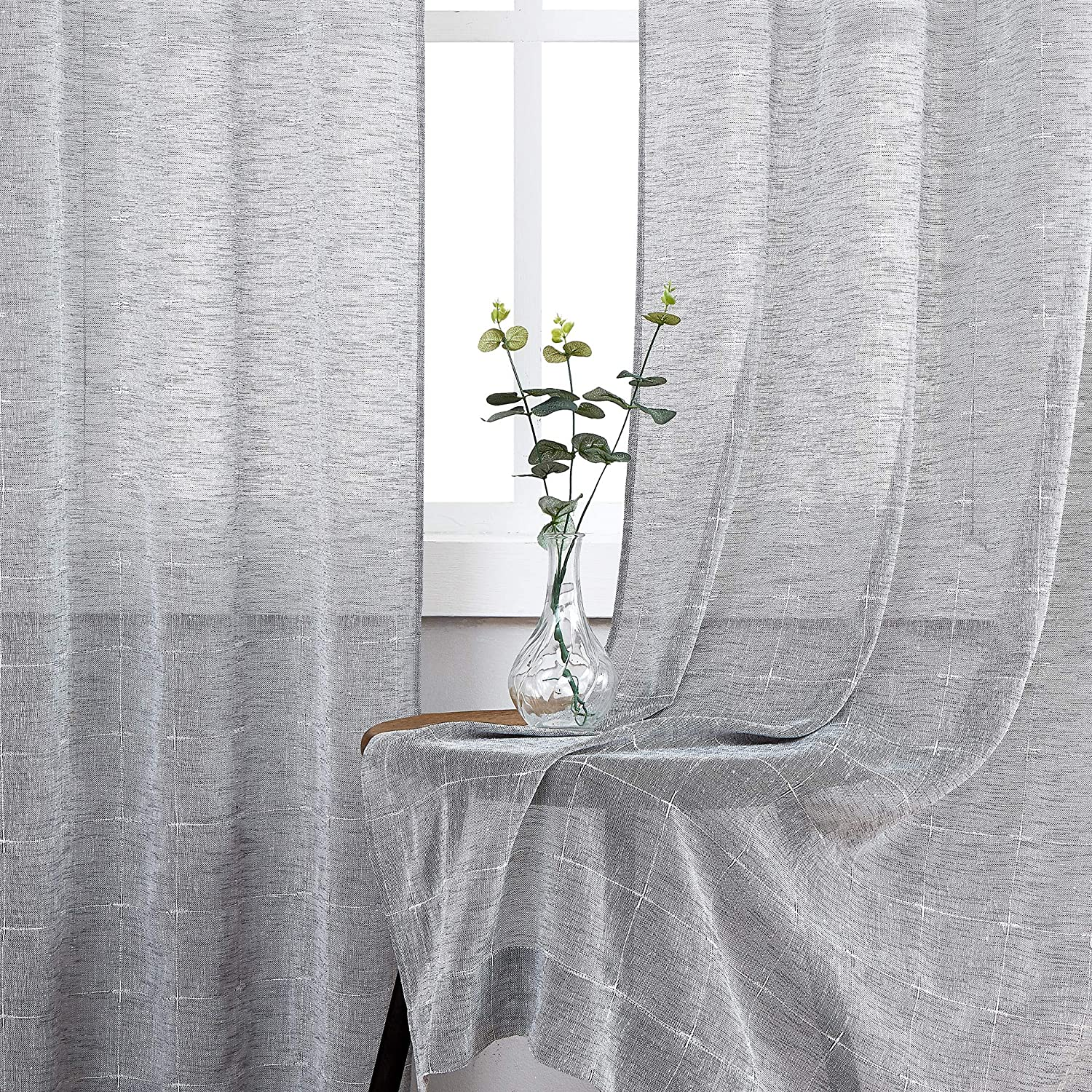 Central Park Gray Semi Sheer Curtain White GEO Cross Embroidery Panels Linen Texture Rod Pocket Window Treatment Drape Sets for Living and Bedroom Farmhouse 108 inches Long, 2 Panels, Gray