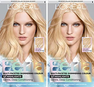 L'Oreal Paris Feria Multi-Faceted Shimmering Permanent Hair Color, 100 Pure Diamond, 2 Count Hair Dye