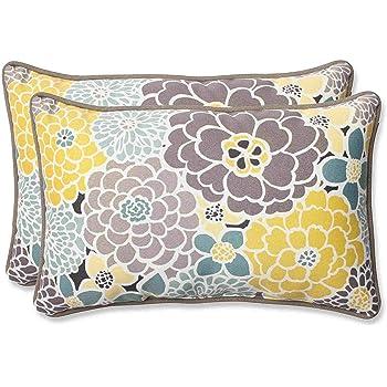 """Pillow Perfect Outdoor/Indoor Lois Vapor Lumbar Pillows, 11.5"""" x 18.5"""", Blue, 2 Pack"""