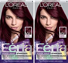 L'Oréal Paris Feria Multi-Faceted Shimmering Permanent Hair Color, V38 Violet Noir, 2 COUNT Hair Dye