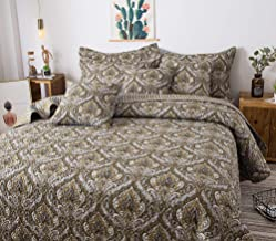 Tache Bohemian Spades Moroccan Neutral Olive Green Blue - Traditional Style Paisley Floral Damask Reversible Bedspread Cov...