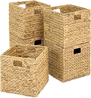 Best Choice Products Foldable Handmade Hyacinth Storage Baskets w/Iron Wire Frame, Set of 5, Natural