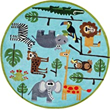 Momeni Rugs Lil' Mo Whimsy Collection, Kids Themed Hand Carved & Tufted Area Rug, 5' Round, Multicolor Jungle Animals on Blue
