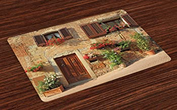 Lunarable Tuscan Place Mats Set of 4, Picturesque Lane with Mediterranean Architecture Flowers Italian Town, Washable Fabric Placemats for Dining Room Kitchen Table Decor, Pale Brown