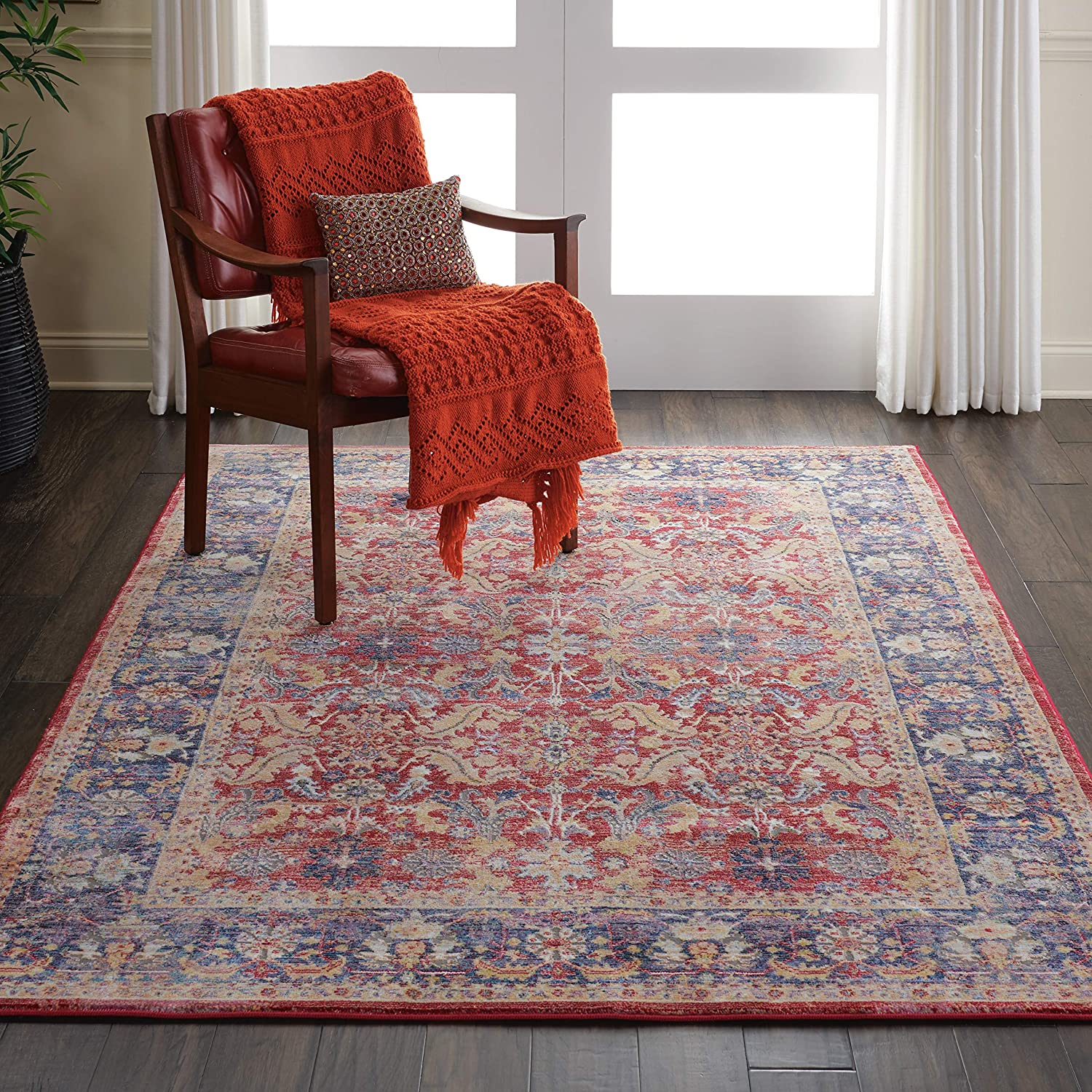 Nourison Global Vintage Red low-pricing and Overseas parallel import regular item Persian Blue Area Rug Multicolor