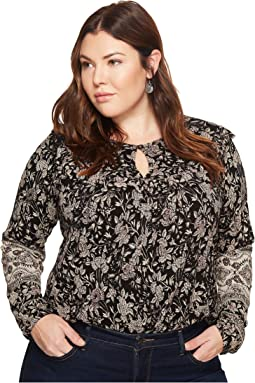 Lucky Brand Plus Size Mixed Print Ruffle Top
