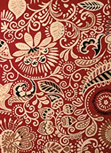 United Weavers of America Dallas Bandanna Rug – Red 5ft. 3in. x 7ft. 2in, Graphic Pattern, Jute Backing. Synthetic Indoor Rugs