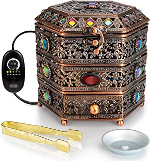 AM Regulator Electric Incense Burner - Oud Frankincense Resin Burner with Adjustable Timer & Storage Drawer