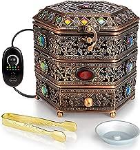 AM Regulator Electric Incense Burner - Oud Frankincense Resin Burner with Adjustable Timer & Storage Drawer
