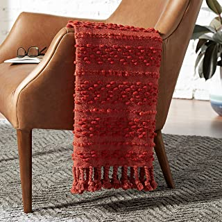 Rivet Contemporary Raised-Texture Throw Blanket - 60 x 50 Inch, Baked Clay