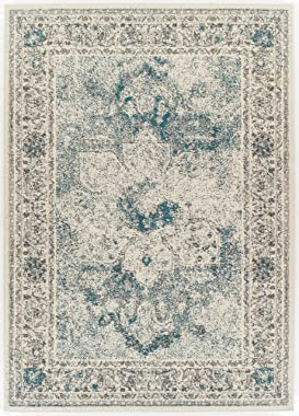 Modern Distressed Area Rug Carpet Vintage Rugs for Living Room (Medium 5'x8', Dark Blue)