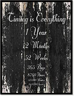 Timing Is Everything 1 Year 12 Months 52 Weeks 365 Days 8,760 Hours 525,000 Minutes 31,536,000 Seconds Quote Saying Canvas Print Home Decor Wall Art Gift Ideas, Black Frame, Black, 7