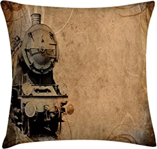 Ambesonne Steam Engine Throw Pillow Cushion Cover, Antique Old Iron Train Aged Sepia Grunge Style Design Industrial Theme Print, Decorative Square Accent Pillow Case, 16