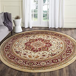 Safavieh Lyndhurst Collection LNH330A Traditional Oriental Medallion Ivory and Red Round Area Rug (10' Diameter)