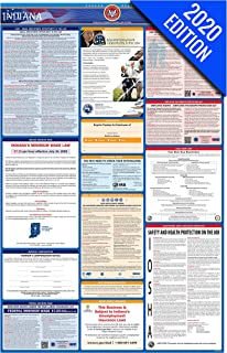 2020 Indiana Labor Law Poster – State, Federal, OSHA Compliant – Single Laminated Poster