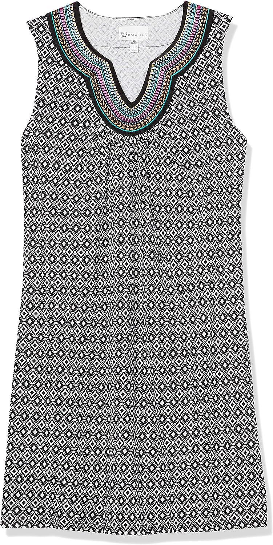 Rafaella Womens Petite Diamonte Geo Print Sleeveless Dress with Embroidery