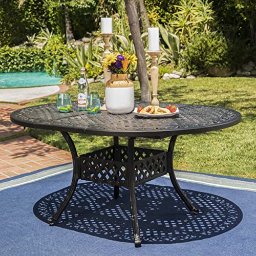 Beau Stannis Outdoor Expandable Aluminum Dining Table (Black Sand)