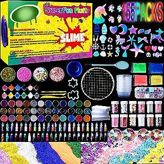 Slime Supplies Kit,155 Pack, Include Jelly Cube, Foam Balls, Glitter Jars, Fruit Flower Animal Slices, Pearls, Slime Tools for DIY Slime Making, Homemade Slime, Girl Slime Party(No Slime)