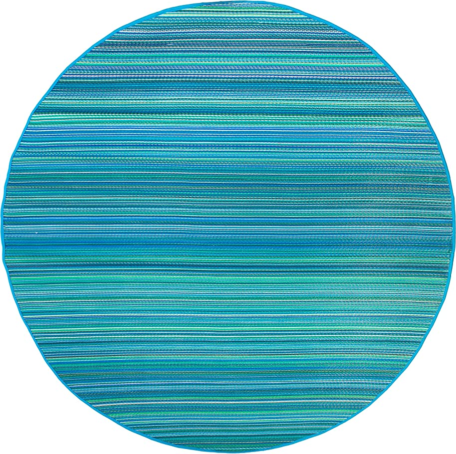 Fab Habitat Cancun Indoor/Outdoor Rug, Turquoise and Moss Green, 8' Round