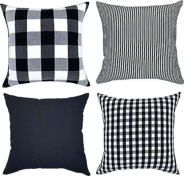 YOUR SMILE Farmhouse Buffalo Plaid Throw Pillow Covers 18x18 Inch Set Of 4 Throw Cushion Case Holiday Decor Cotton Canvas For Sofa Pure Color Checkers Plaid Stripe Lattice 18 X 18 Black