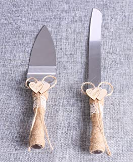Set of 2, Rustic Wedding Cake Knife and Serving Set with Twine Heart Love Wood Tag Burlap Lace