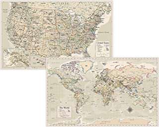 """Antique Laminated World Map & US Map Poster Set - 18"""" x 29"""" - Wall Chart Maps of The World & United States - Made in The U..."""