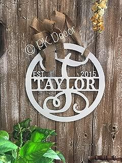 Personalized Last Name Door Hanger 18 inch ACM Metal Sign Monogram Gifts For Women Monogram Door Wreath Established Family Sign Initial Door Hanger QUICK SHIPPING