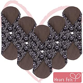 Sanitary Reusable Cloth Menstrual Pads by Heart Felt | 5 Pack Washable Sanitary Napkins with Charcoal