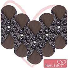 Sanitary Reusable Cloth Menstrual Pads by Heart Felt. 5 Pack Washable Natural Organic Napkins with Charcoal Absorbency Layer. Overnight Long Panty Liners for Comfort Support and Incontinence