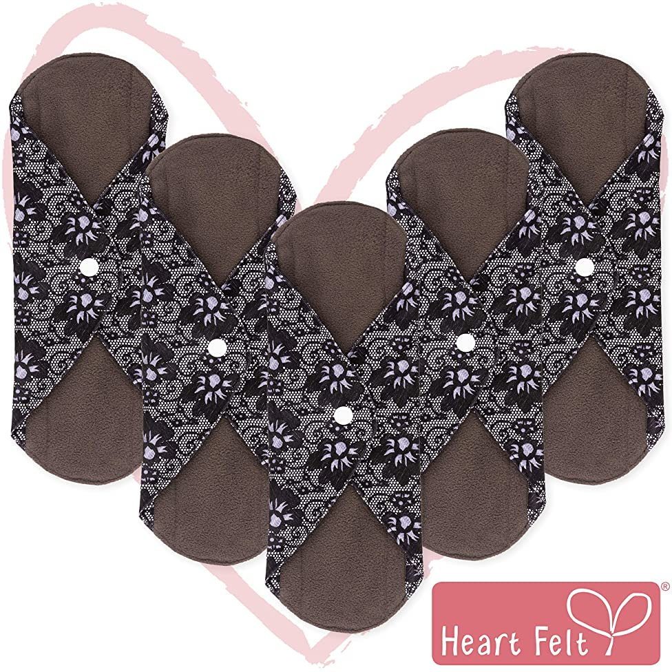 Sanitary Reusable Cloth Menstrual Pads by Heart Felt. XL Cloth - 5 Pack Washable Sanitary Napkins with Charcoal Absorbency Layer. Overnight Long Panty Liners for Comfort and Support