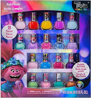 TownleyGirl Trolls Poppy and Friends Kids Washable Super Sparkly Peel-Off Nail Polish, 18 Colors.