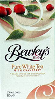Bewley's Pure White With Cranberry Tea Bags, 25 Count, 50 Gram