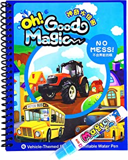 Water Coloring Book,Magic Water Drawing Book,Vehicle-Themed Reusable Coloring Acticity Board,Original Color Doodle Painting Picture Book With Refillable Water Pen For Boys Girls Kids Toddlers