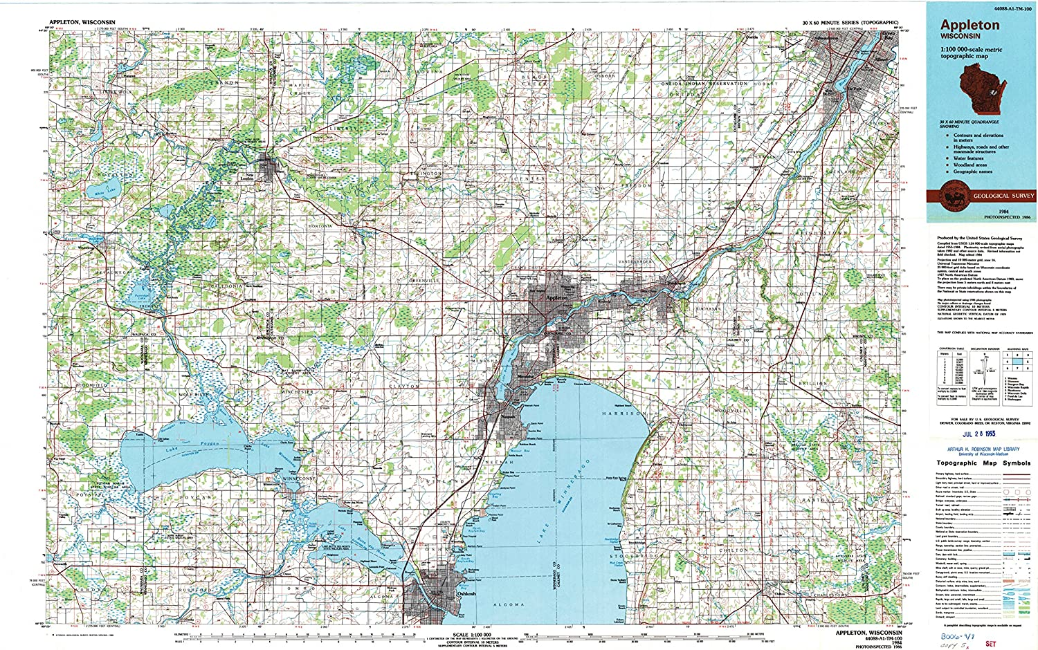 YellowMaps Appleton WI topo map 2021 autumn and winter new 1:100000 60 Scale X 30 Minute Seasonal Wrap Introduction