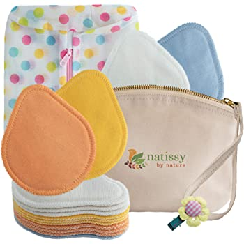 Washable Nursing Pads, 14-Pack of Organic Cotton Reusable Breast Pads for Breastfeeding Made in EU, Soft Nursing Pads Reusable, Large Cloth Reusable Nipple Pads for Sensitive Skin & During Nights