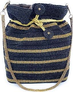 WOMEN'S DESIGNER ELEGANT ROYAL HANDMADE POTLI BAG/HANDBAG/PURSE/CLUTCH BAG ADORA ACI 091 BLACK