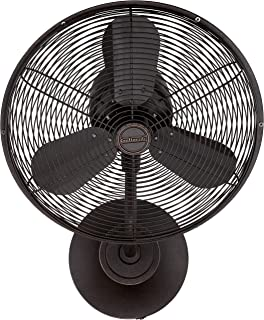 Craftmade Outdoor Wall Mount Fan BW116AG3-HW Bellows I 16 Inch Patio Fans Oscillating with Wall Control, Aged Bronze (Hard Wire)