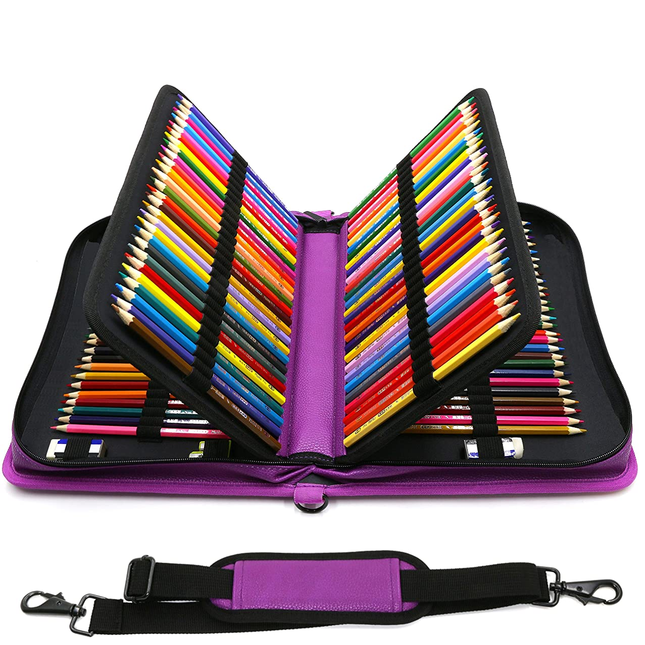 YOUSHARES 160 Slots Pencil Case - PU Leather Large Capacity Zipper Pen Bag with Adjustable Strap for Prismacolor Watercolor Pencils, Crayola Colored Pencils, Marco Pens and Cosmetic Brush (Purple)