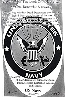 DCentral US Navy Removable Window Decal. Look of Etched Glass. 4