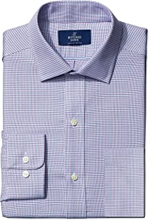 Buttoned Down Men's Classic Fit Spread-Collar Small Micro Check Non-Iron Dress Shirt, Pink/Blue, 15 34 ()