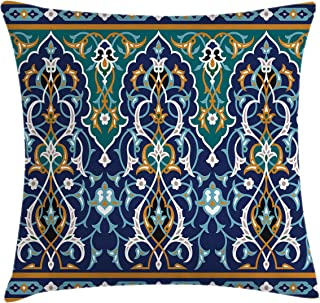 Ambesonne Moroccan Throw Pillow Cushion Cover, Oriental Petals Hippie Vintage Mosaic Design, Decorative Square Accent Pillow Case, 24