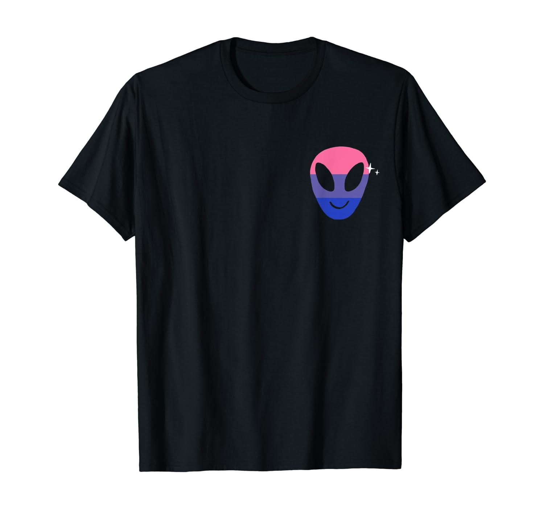 Bisexual Alien Lgbtq Bi Pride Flag Weird Vaporwave Shirts